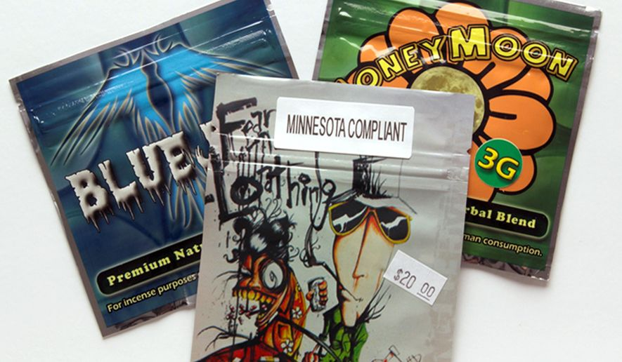 This photo provided by the Minnesota Department of Human Services shows packages synthetic drugs which appear on its new Website launched Wednesday, Aug. 6, 2014. The site, knowthedangers.com, aimed at giving children and parents more information about the dangers posed by synthetic drugs. (AP Photo/Minnesota Department of Human Services)