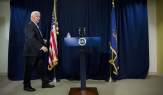 """Gov. Tom Corbett walks to the podium during a news conference Wednesday, Aug. 6, 2014, in Philadelphia. Corbett said Wednesday he will authorize $265 million in advance payments to the Philadelphia school district to allow schools to open """"on day one"""" and help avoid layoffs. He said the money represents early disbursement of funds that the schools would normally receive through the academic year. (AP Photo/Matt Rourke)"""