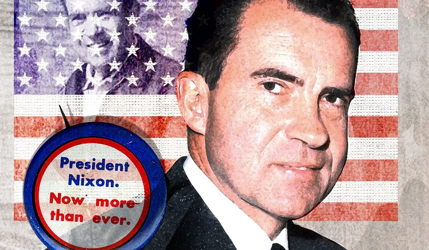 Illustration on Richard Nixon by Alexander Hunter/The Washington Times