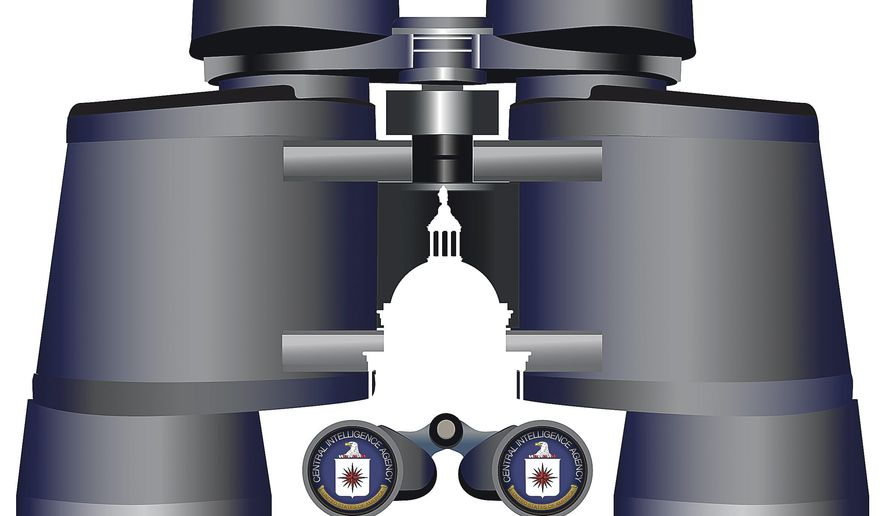 Illustration on Government spying on Government by Linas Garsys/The Washington Times