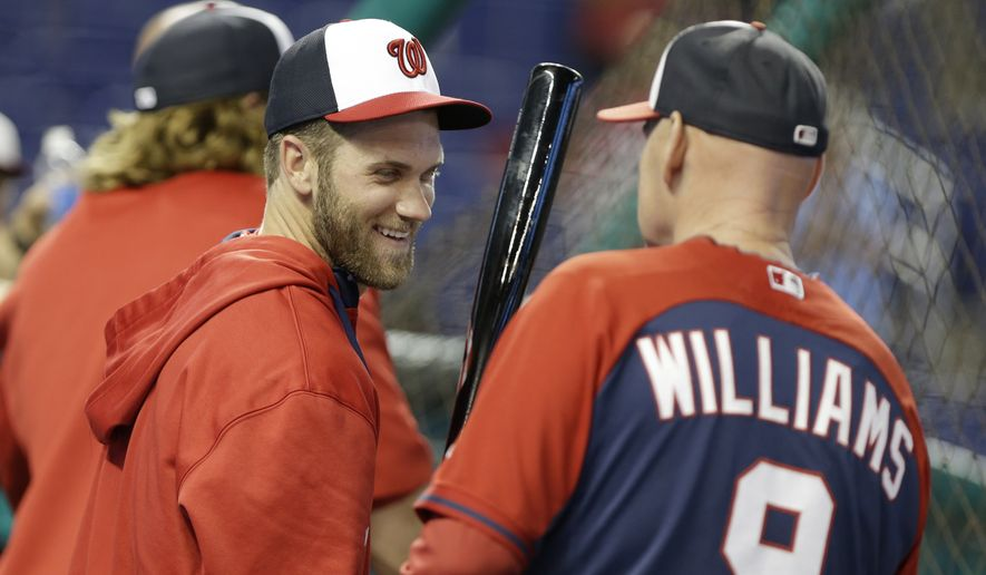 Washington Nationals Bryce Harper, left, talks with manager Matt Williams (9) during batting practice before a baseball game against the Miami Marlins, Monday, April 14, 2014, in Miami. (AP Photo/Lynne Sladky)