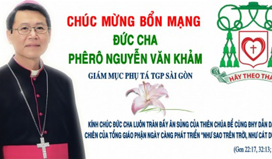 Bishop Peter Nguyen Van Kham seen in an offical graphic from the 2008 episcopal consecration.
