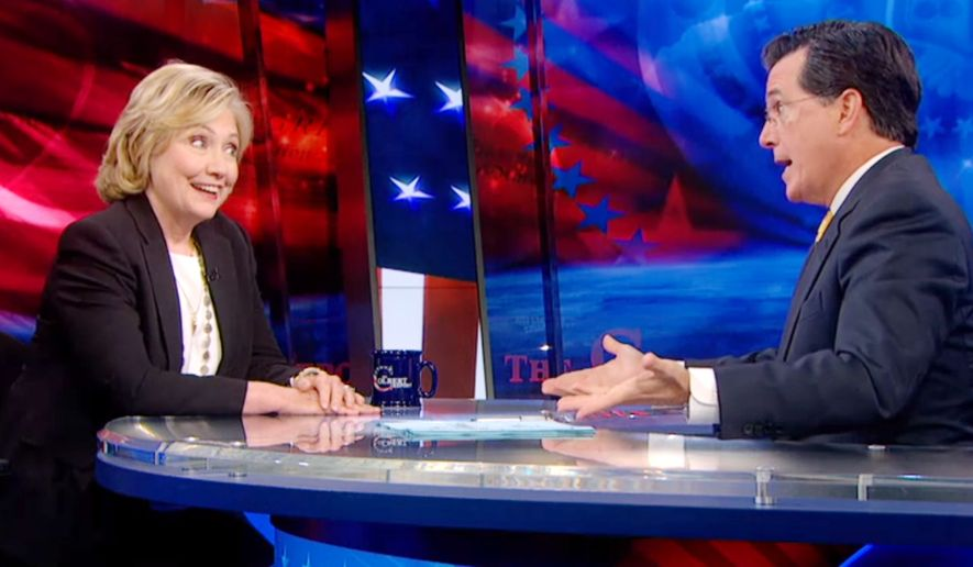 Former Secretary of State Hillary Clinton made a surprise appearance on Comedy Central's 'The Colbert Report' Tuesday, August 5, 2014.
