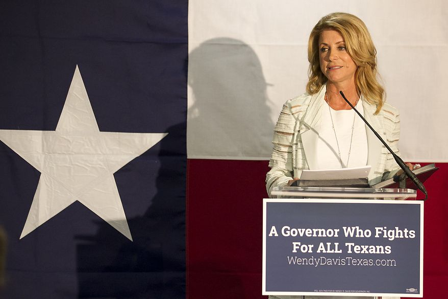 Wendy Davis, Democratic candidate for Texas Governor, speaks at a campaign stop in Austin, Texas, Tuesday, Aug. 5, 2014, at the Travis County Coordinated Campaign Headquarters. Davis insisted Tuesday she'll break her party's two-decade Texas losing streak and win the governor's race, saying turnout from long-disillusioned voters will be stronger than expected and enough to overcome her opponent's sizeable leads in campaign cash and opinion polls. (AP Photo/Austin American-Statesman, Ralph Barrera)