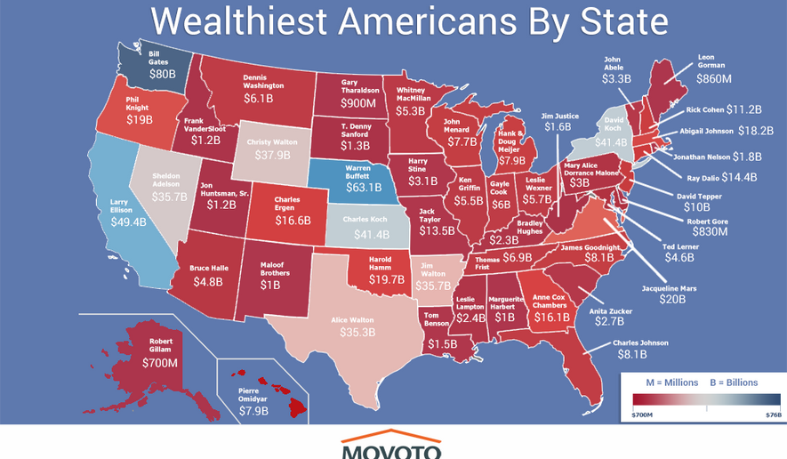 Real estate Web site Movoto has released a map showing which individual dominates each state in terms of personal wealth. (Movoto)