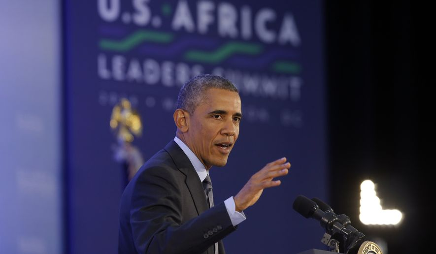 President Barack Obama speaks at a news conference at the end of the U.S. Africa Leaders Summit at the State Department in Washington, Wednesday, Aug. 6, 2014. African heads of state are gathering in Washington for an unprecedented summit to promote business development. (AP Photo/Charles Dharapak)