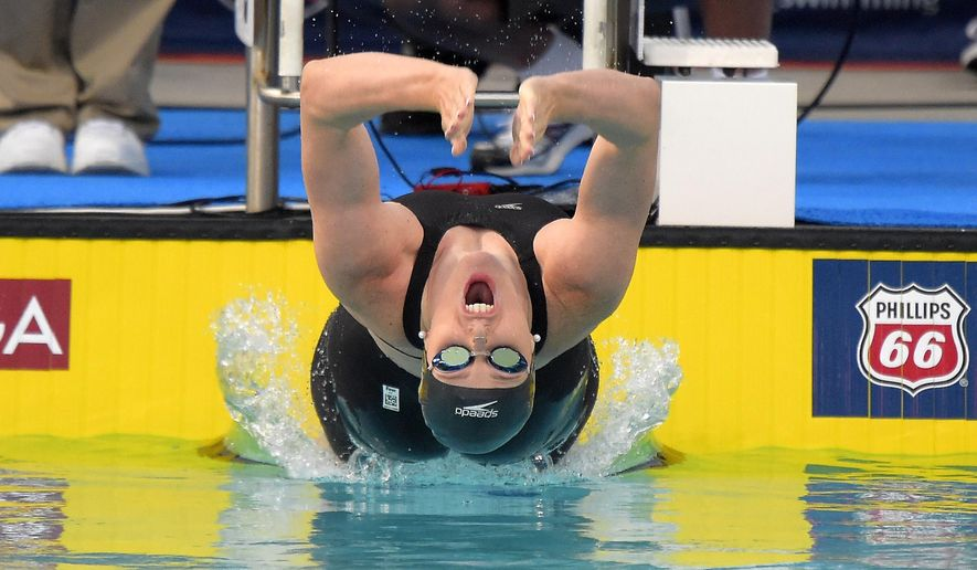 Missy Franklin starts the women's 200 meter backstroke final at the U.S. national championships swim meet, Thursday, Aug. 7, 2014, in Irvine, Calif. Franklin won the event. (AP Photo/Mark J. Terrill)