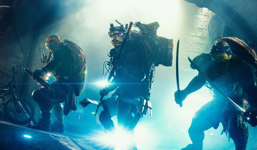 """Michelangelo, Donatello, and Leonardo in a scene from """"Teenage Mutant Ninja Turtles."""" The film proves how wrong some projects can go when the wrong creative talent is at the helm. (Photographs by Paramount Pictures via Associated Press)"""