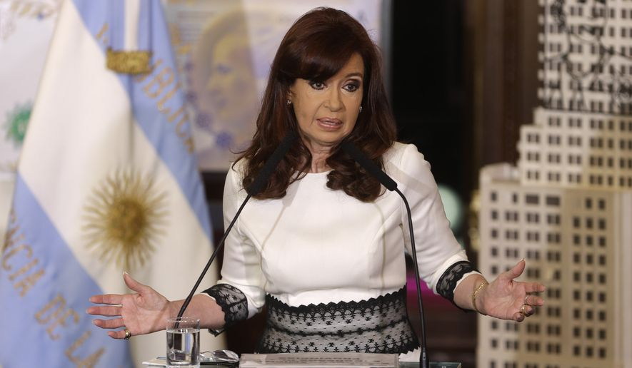 FILE - In this July 31, 2014, file photo, Argentine President Cristina Fernandez speaks at Casa Rosada Presidential Palace in Buenos Aires, Argentina. The south American nation is seeking to sue the United States at the world court over U.S. court rulings related to its 2001 default and later debt restructuring. The International Court of Justice, commonly known as the 'world court,' said in a statement August 7, 2014, that it has received a request from Argentina to take on the case. (AP Photo/Victor R. Caivano, File)