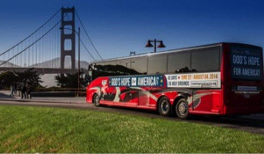 Bus used by clergy and Christian believers during a 43-day, 48-state religious tour that retraced the steps of a pilgrimage a half century ago by the late Rev. Sun Myung Moon.