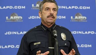 This Feb. 4, 2014, file photo shows Los Angeles Police Chief Charlie Beck speaks at a news conference at LAPD headquarters in Los Angeles. (AP Photo/Reed Saxon, file)