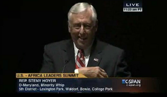 """House Minority Whip Steny Hoyer made an attempt at humor over his title Wednesday by telling an audience at the U.S.-Africa Leaders Summit that he does not """"whip people."""" (C-SPAN/The Daily Caller)"""
