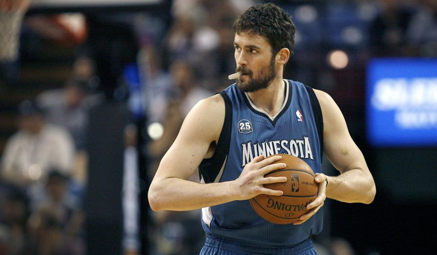 FILE - In this April 13, 2014, file photo, Minnesota Timberwolves forward Kevin Love gets ready to play the Sacramento Kings in Sacramento, Calif. (AP Photo/Steve Yeater, File)