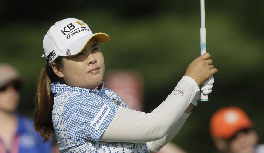 Inbee Park of South Korea drives on the 16th hole during the second round of the Meijer LPGA Classic golf tournament at Blythefield Country Club, Friday, Aug. 8, 2014, in Belmont, Mich. (AP Photo/Carlos Osorio)