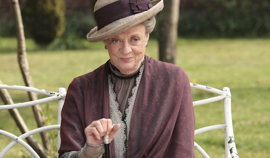 "In this image released by PBS, Maggie Smith as the Dowager Countess Grantham, is shown in a scene from the second season on ""Downton Abbey.""  (AP Photo/PBS, Carnival Film & Television Limited 2011 for MASTERPIECE, Nick Briggs)"