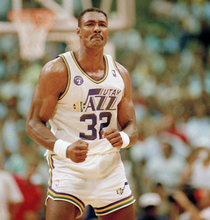 KARL MALONE- The Mailman is a notable Republican. Karl Malone of the Utah Jazz clenches his fists and grits his teeth after being called for an offensive foul during the second half of their NBA Western Conference playoff game with the Los Angeles Lakers in Salt Lake City, Utah, May 16, 1988. The Jazz lost to the Lakers, 113-100. (AP Photo/Bob Galbraith)