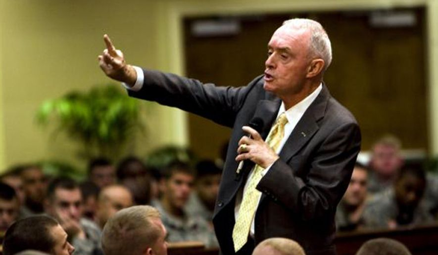 ** FILE ** Gen. (Ret.) Barry McCaffrey speaks to soldiers from from 1/30th, 2nd HBCT, 3rd ID at Fort Stewart's Main Post Chapel, Oct 13, 2009. (U.S. Army)