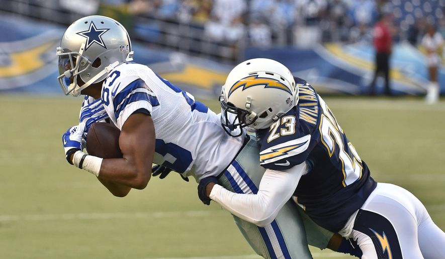 Dallas Cowboys wide receiver Terrance Williams is tackled by San Diego Chargers cornerback Steve Williams on an 8-yard reception during the first half of a preseason NFL football game Thursday, Aug. 7, 2014, in San Diego. (AP Photo/Denis Poroy)