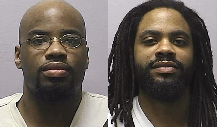 FILE - In this combination of 2013 file photos provided by the Kansas Department of Corrections, is Reginald D. Carr, left, and Jonathan D. Carr. The Kansas Attorney General announced Friday, Aug. 8, 2014 that he will ask the U.S. Supreme Court to reinstate death sentences for two brothers over the fatal shooting of four people in snow-covered soccer field. The Kansas Supreme Court, which overturned their death sentences in July, hasn't upheld a death sentence since the state enacted a new capital punishment law in 1994. (AP Photo/Kansas Department of Corrections)