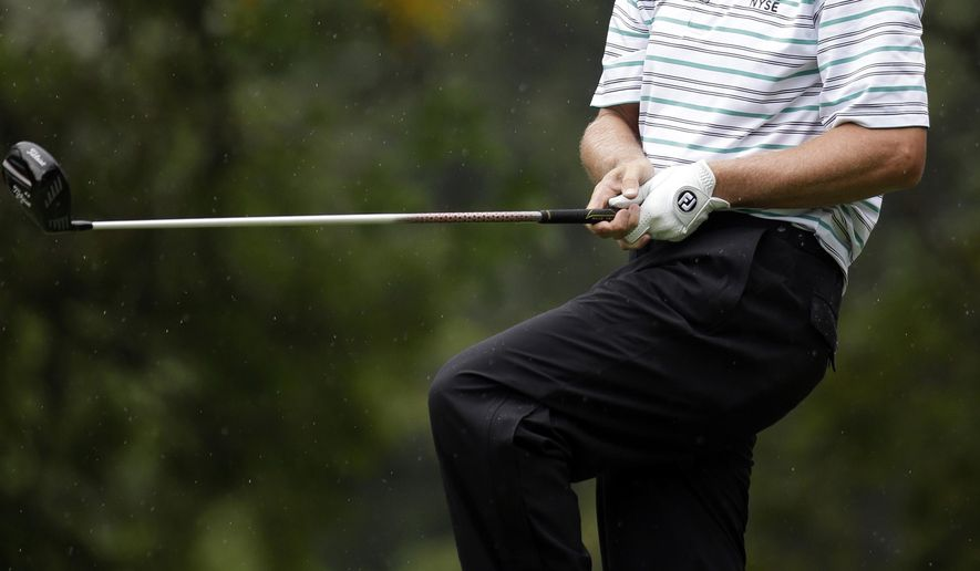 Steve Stricker watches his tee shot on the second hole during the second round of the PGA Championship golf tournament at Valhalla Golf Club on Friday, Aug. 8, 2014, in Louisville, Ky. (AP Photo/Jeff Roberson)