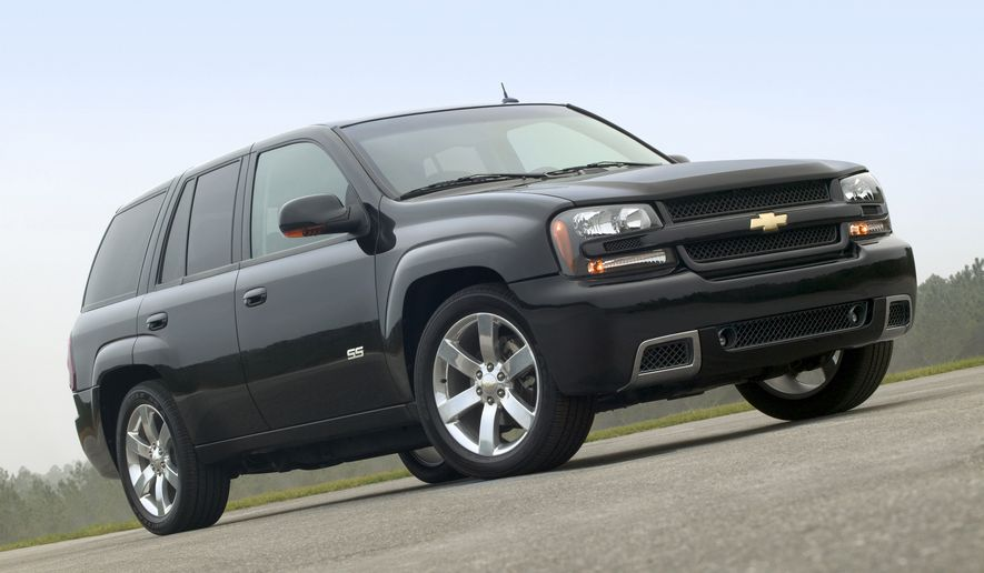 FILE - This undated file photo made available by General Motors Co., shows the 2006 Chevy TrailBlazer SS sport utility vehicle. General Motors' troubles with safety recalls have surfaced in another case, this time with the company recalling a group of SUVs, including the 2006-2007 Chevrolet Trailblazer, for a third time to fix power window switches that can catch fire. (AP Photo/General Motors Co., File)