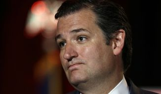 ** FILE ** U.S. Sen. Ted Cruz, R-Texas, pauses as he delivers a speech to 2014 Red State Gathering attendees, Friday, Aug. 8, 2014, in Fort Worth, Texas. (Associated Press)