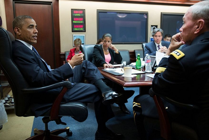 President Barack Obama meets with his national security advisers in the Situation Room of the White House, Aug. 7, 2014. (Official White House Photo by Pete Souza)