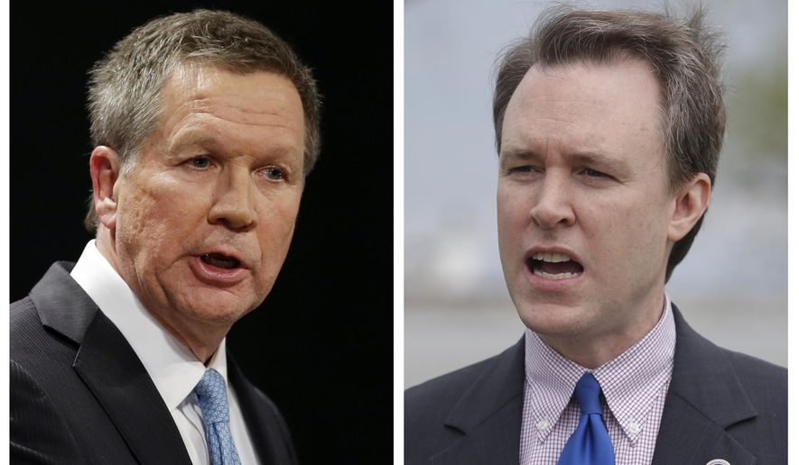 FILE - These 2014 file photo show Republican Ohio Gov. John Kasich, left, and his Democratic challenger, Cuyahoga County Executive Ed FitzGerald. FitzGerald already had an uphill fight in his campaign to unseat the well-funded Kasich, but now he is on the defensive about why he lacked a permanent driver's license for more than a decade and been forced to answer questions about 2012 police records showing him in a parking lot at 4:30 a.m. with a woman who isn't his wife. (AP Photos/Tony Dejak, File)
