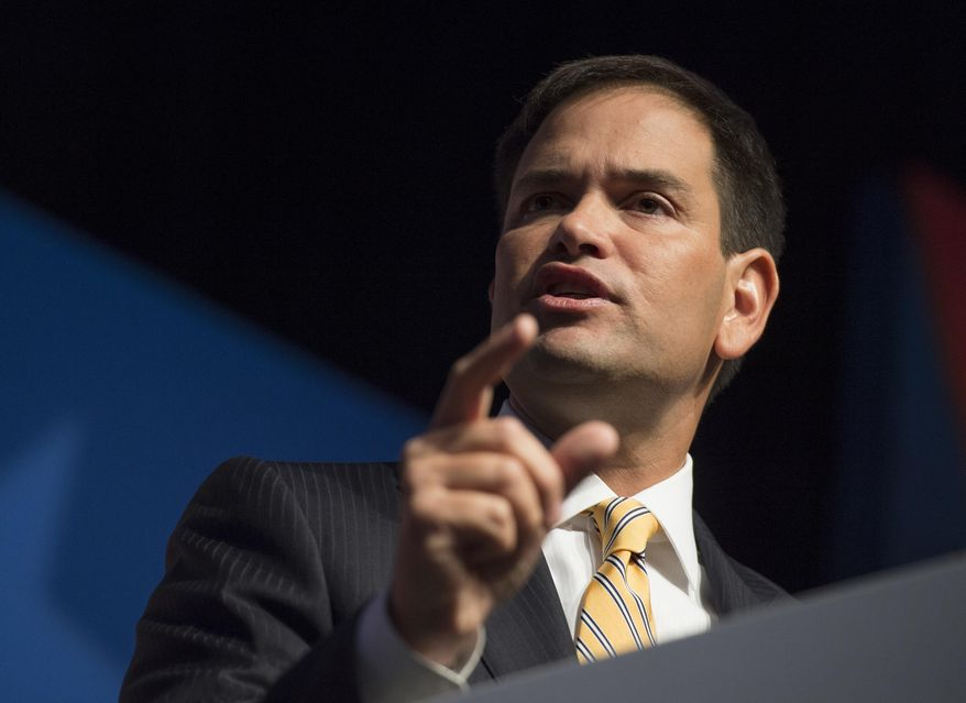 Sen. Marco Rubio, Florida Republican, speaks at the Faith and Freedom Coalition's Road to Majority event in Washington on June 19, 2014. (Associated Press) **FILE**