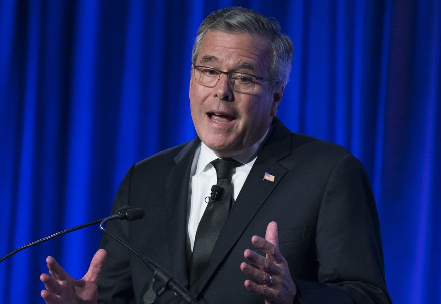 ** FILE ** This May 12, 2014, file photo shows former Florida Gov. Jeb Bush as he speaks at the Manhattan Institute for Policy Research Alexander Hamilton Award Dinner in New York. (AP Photo/John Minchillo, File)