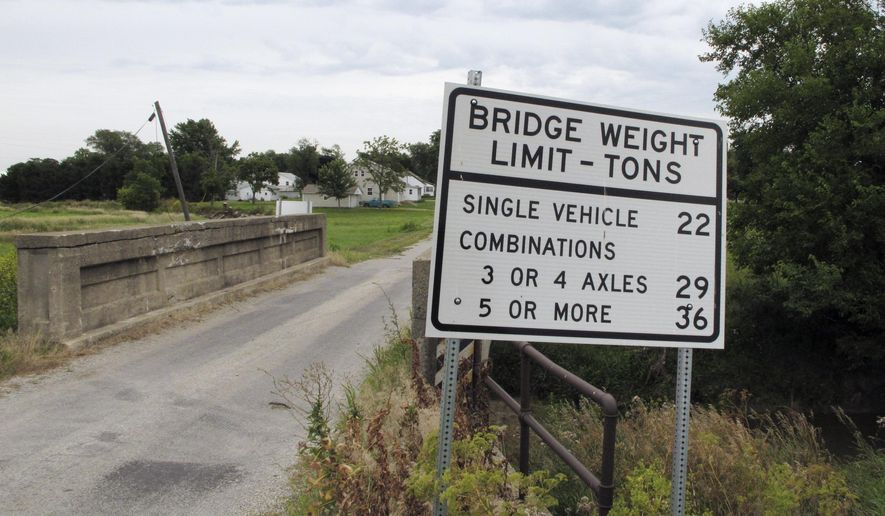 In this July 25, 2014 photo, the owner of Stockland Grain Co. in Stockland, Ill., says this small bridge just west of town is widely used by farmers trying to reach the company's elevator. But the little bridge won't handle fully loaded trucks, forcing farmers to make extra trips and spend extra money. The trade groups that represent soybean farmers say bridges like this all across the country need improvement and they're hoping a campaign to focus attention on this critical piece of the transportation infrastructure they rely on will pay off with better bridges and a better understanding among government decision-makers of their importance to farmers. (AP Photo/David Mercer)