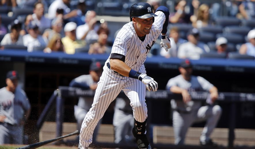 New York Yankees' Derek Jeter tries to beat the throw after hitting a ground ball to first base during the fourth inning of a baseball game against the Cleveland Indians, Saturday, Aug. 9, 2014, in New York. Jeter, who needs one more hit to move past Honus Wagner for sixth place on the all-time career hit list, was thrown out on the play. (AP Photo/Jason DeCrow)