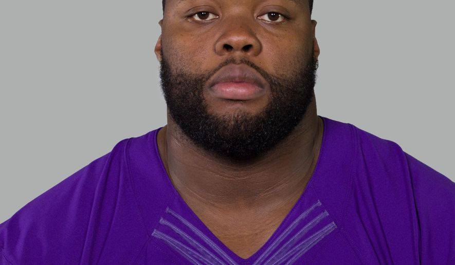 This is a 2014 photo of Linval Joseph of the Minnesota Vikings NFL football team. Minneapolis police are investigating a shooting inside a downtown nightclub that injured 9 people, including a Minnesota Vikings defensive tackle. The team released a statement Saturday saying Linval Joseph was shot in the calf. He was treated for a minor injury and released. The Vikings described Joseph as an innocent bystander. (AP Photo)
