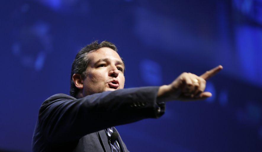 ** FILE ** U.S. Sen. Ted Cruz, R-Texas, speaks during The Family Leadership Summit, Saturday, Aug. 9, 2014, in Ames, Iowa. (Associated Press)