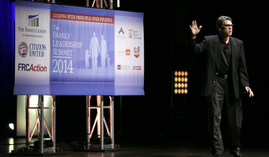 Texas Gov. Rick Perry speaks during The Family Leadership Summit, Saturday, Aug. 9, 2014, in Ames, Iowa. (AP Photo/Charlie Neibergall)