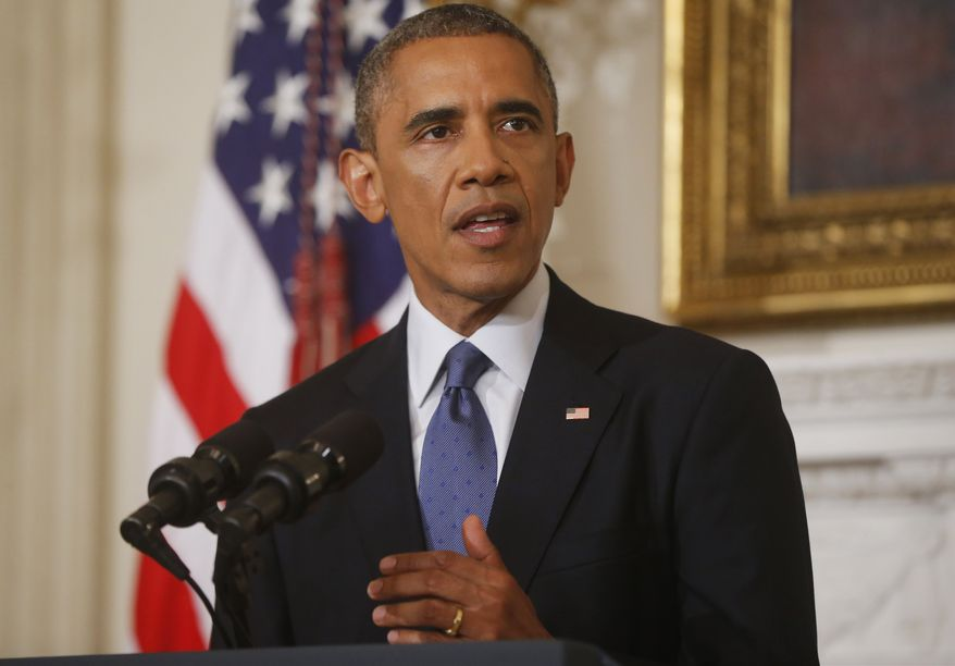 ** FILE ** In this Thursday, Aug. 7, 2014, file photo, President Barack Obama speaks about the situation in Iraq at the White House in Washington. (AP Photo/Charles Dharapak, File)