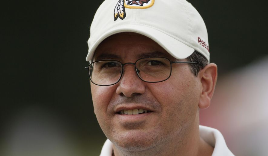 "FILE - In this Aug. 3, 2010, file photo, Washington Redskins owner Dan Snyder attends a workout at the NFL football team's training camp in Ashburn, Va. The campaign to ditch ""Redskins"" by those who consider it a racial slur has reached unprecedented momentum over the last 18 months. Snyder has always vowed never to change the name. (AP Photo/Carolyn Kaster, File)"
