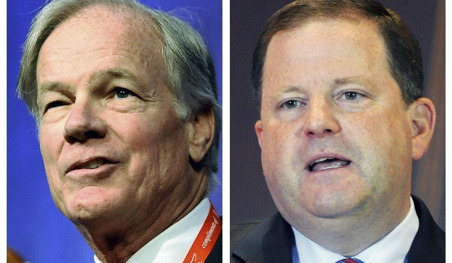 FOR USE AS DESIRED - This combination of 2104 file photos shows Connecticut Republican gubernatorial hopefuls Tom Foley, left, and John McKinney, who will face off in their party's primary election Tuesday, Aug. 12, 2014.  (AP Photos/File)