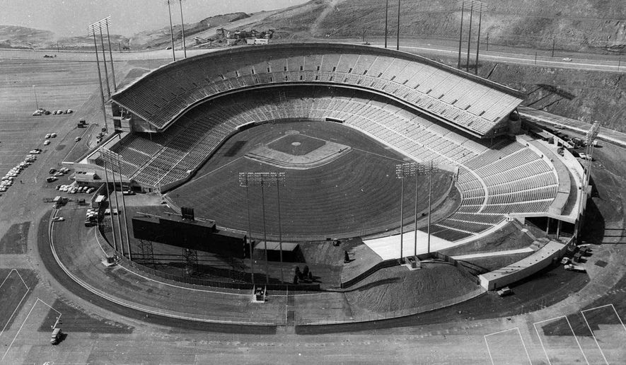 FILE - In this April 1, 1960 file photo, Candlestick Park is shown in San Francisco. Candlestick Park, known for its bone-numbing winds, the Catch and the earthquake-rocked 1989 World Series is officially closing after more than a half century of hosting sporting and cultural events. In a bow to historical symmetry, the Stick's finale will be a performance Thursday by Paul McCartney, 48 years after the Beatles' last scheduled concert lit up the venue. (AP Photo/File)