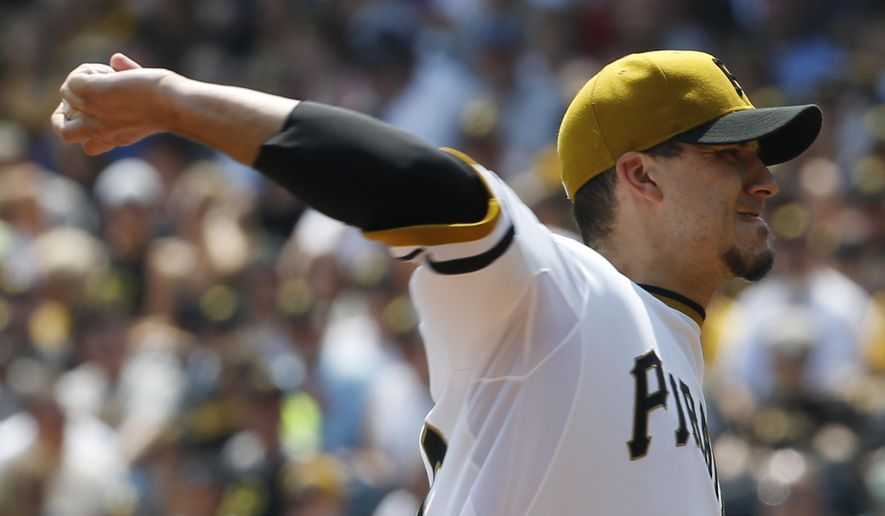Pittsburgh Pirates starting pitcher Charlie Morton throws against the San Diego Padres in the first inning of a baseball game on Sunday, Aug. 10, 2014, in Pittsburgh. (AP Photo/Keith Srakocic)