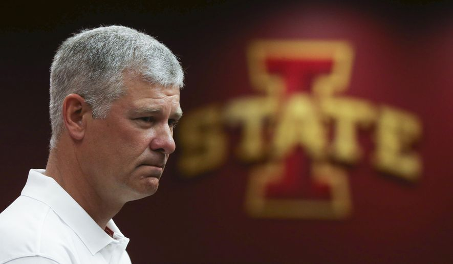 Iowa State football coach Paul Rhoads takes questions from members of the media at the Iowa State football media day on Sunday, Aug. 10, 2014, at Jack Trice Stadium in Ames, Iowa. (AP Photo/The Des Moines Register, Charlie Litchfield) MAGS OUT, TV OUT, NO SALES, MANDATORY CREDIT