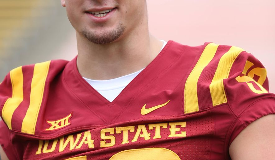 Iowa State defensive end Cory Morrissey talks with members of the media at the Iowa State football media day on Sunday, Aug. 10, 2014, at Jack Trice Stadium in Ames, Iowa. (AP Photo/The Des Moines Register, Charlie Litchfield)    MAGS OUT, TV OUT, NO SALES, MANDATORY CREDIT