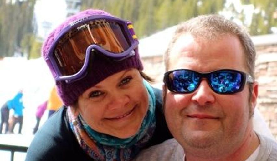This photo provided by  Katie Thomey, shows Nik and his wife Teresa Rajala on March 2013 at the Big Sky Ski Resort in Monana. Ontario Provincial police say three Americans have died in a plane crash in northwestern Ontario.  Canadian authorities identified the victims as 41-year-old Nikolas Rajala, 40-year-old Teresa Rajala, and 36-year-old Lynn Bohanon, all of Grand Rapids, Minnesota. Police say the three were staying at a fishing lodge in the area, and were on a fishing trip when the crash occurred. (AP Photo/Courtesy of Katie Thomey)