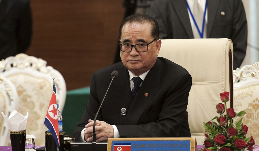 North Korean Foreign Minister Ri Su Yong waits for the start of the launching ceremony of the logo of the ASEAN Regional Forum Disaster Exercises at the Myanmar International Convention Center (MICC) in Naypyitaw Sunday, Aug. 10, 2014. (AP Photo/Nicolas Asfouri, Pool)