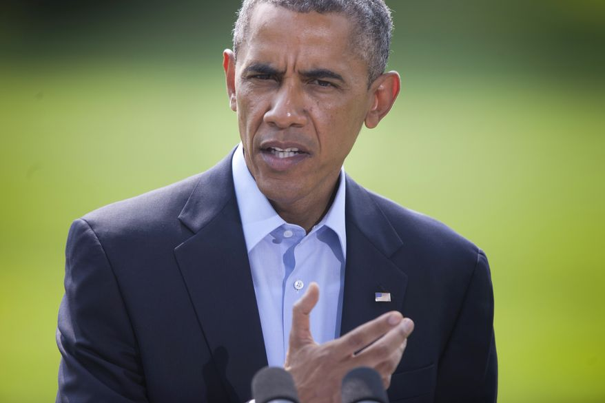 This Aug. 9, 2014, photo shows President Barack Obama as he speaks on the South Lawn of the White House in Washington, about the ongoing situation in Iraq. Islamic militants' growing influence in Iraq and Syria are a threat to Americans, lawmakers from both political parties agreed Sunday even as they sharply disagreed on what role the United States should play in crushing them. (AP Photo/Pablo Martinez Monsivais)