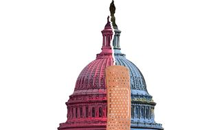 Capitol Bandaid Illustration by Greg Groesch/The Washington Times
