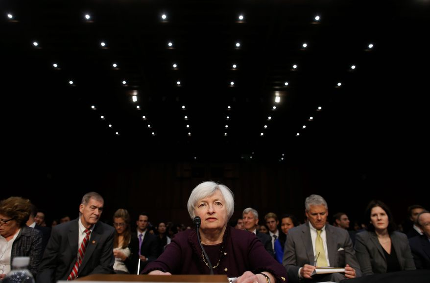 Federal Reserve Chair Janet Yellen testifies about the economy before the Joint Economic Committee of Congress on Capitol Hill in Washington, Wednesday, May 7, 2014.(AP Photo/Charles Dharapak)