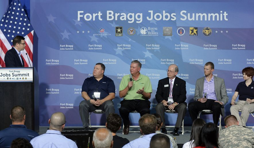 IMAGE DISTRIBUTED FOR U.S. CHAMBER OF COMMERCE FOUNDATION -  More than a hundred employers and community leaders attend the Fort Bragg Veterans Jobs Summit on Tuesday, August 12, 2014 at Fort Bragg, N.C. The two-day summit is held in partnership with the U.S. Chamber of Commerce Foundation's Hiring Our Heroes program, the U.S. Department of Veterans Affairs, the U.S. Department of Labor, and the U.S. Army. Sponsored by the Call of Duty Endowment, the event is part of a series of collaborative efforts between the public and private sectors to connect veterans, transitioning service members, and military spouses to meaningful employment opportunities. The event will culminate with a Hiring Our Heroes job fair with more than 1,200 service members, veterans, and military spouses at Fort Bragg on Wednesday, August 13, 2014. (Sara D. Davis/AP Images for U.S.Chamber of Commerce Foundation)