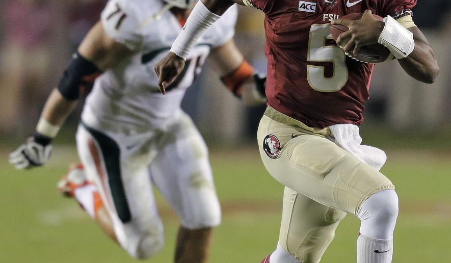 FILE - In this Nov. 2, 2013, file photo, Florida State quarterback Jameis Winston (5) outruns Miami defensive lineman Anthony Chickillo (71) during the first quarter of an NCAA college football game, in Tallahassee, Fla.  (AP Photo/Chris O'Meara, File)