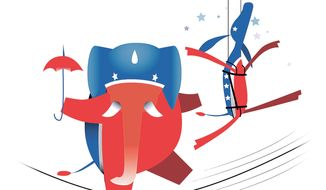 Illustration on Governors Christie and Cuomo by Linas Garsys/The Washington Times